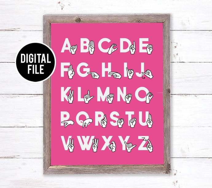 Pink ASL Sign Language Alphabet Art - Modern Nursery Art - Alphabet Printable