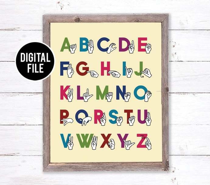 Rainbow Sign Language Alphabet Art - Playroom 16x20 ASL Art - ABC Nursery Art -