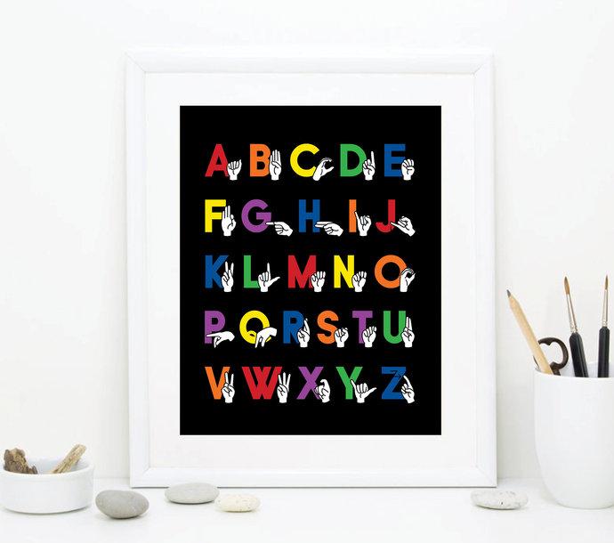 Rainbow Sign Language Alphabet Art - ABC Nursery Art - Alphabet Printable Art -