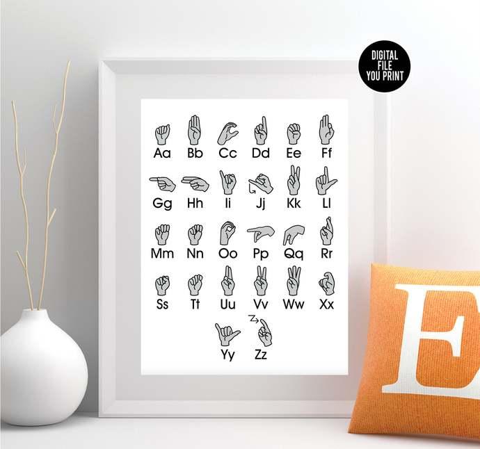 Gray Sign Language Alphabet Art - ABC Nursery Art - Alphabet Printable Art -