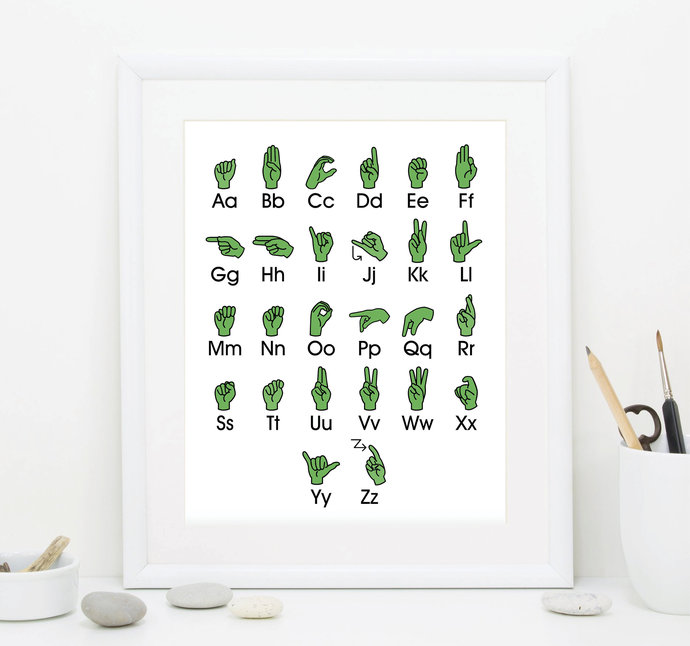 Green Sign Language Alphabet Art - Alphabet Printable Art - Alphabet Wall Decor