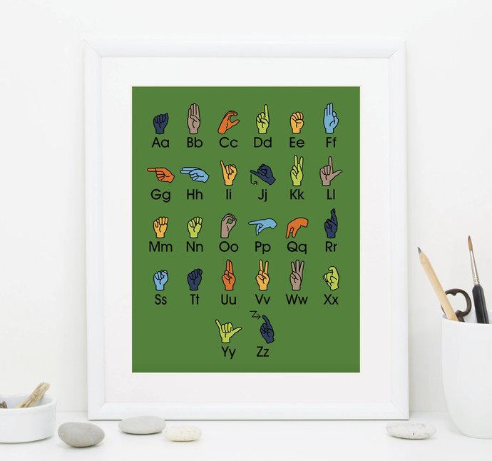 Sign Language Alphabet Art - 16x20 ASL Art - Green Alphabet Art - Alphabet Wall
