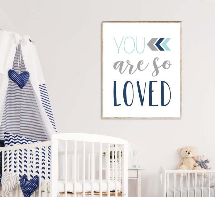 Aqua Navy and Grey You are so loved nursery printable art, Boho Tribal baby boy