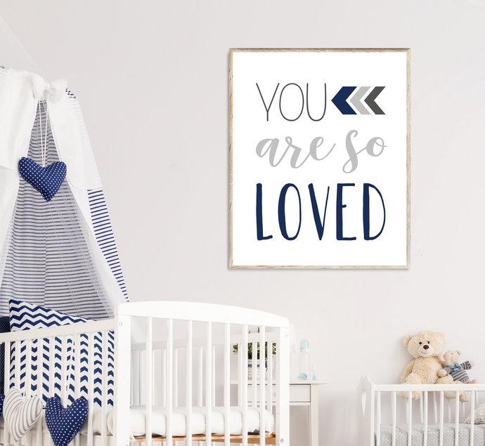 Navy and Dark Gray You are so loved nursery printable art, Boho Tribal baby boy