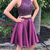 Elegant Halter Beaded Two Piece Prom Dress, Short Homecoming Dresses