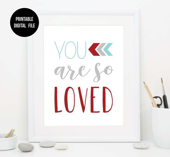 Aqua Red and Gray You are so loved nursery printable art, Boho Tribal baby boy
