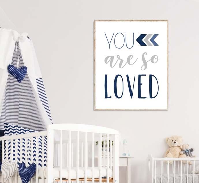 Navy and Gray You are so loved nursery printable art, Boho Tribal baby boy