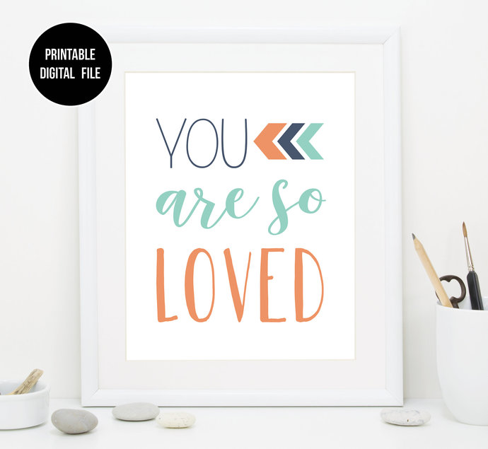 Mint Navy and Coral Nursery Printable art, You are so loved, Boho Tribal baby