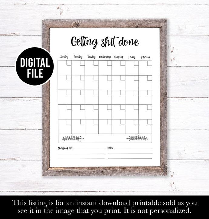 Reusable dry erase farm house calendar, Eco Friendly Gifts, Family Wall Calendar
