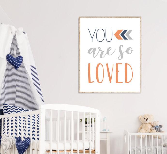 Coral Navy and Grey You are so loved nursery printable art, Boho Tribal baby boy