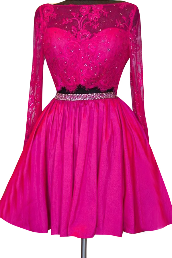 Long Sleeve Two Piece Homecoming Dress, Short Homecoming Dresses, Beaded