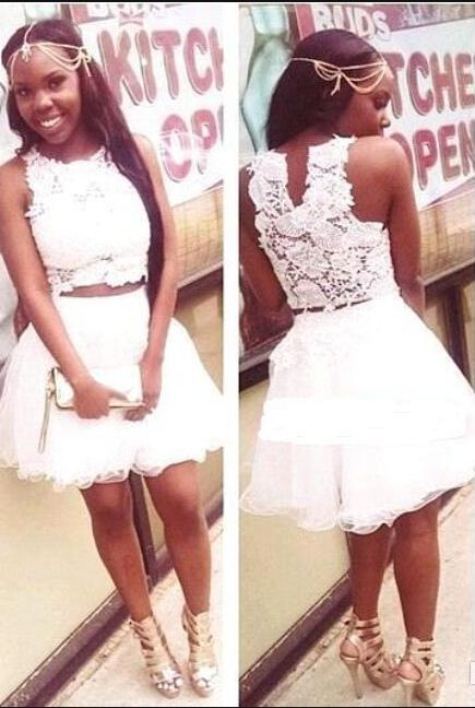 White Appliques Two Piece Homecoming Dress, Tulle Prom Dress, Short Party Dress
