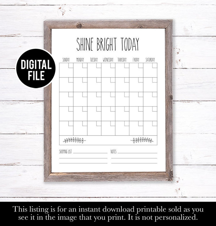 Family Wall Calendar, Dry Erase Calendar Printable, Farm House Decor, Farm House