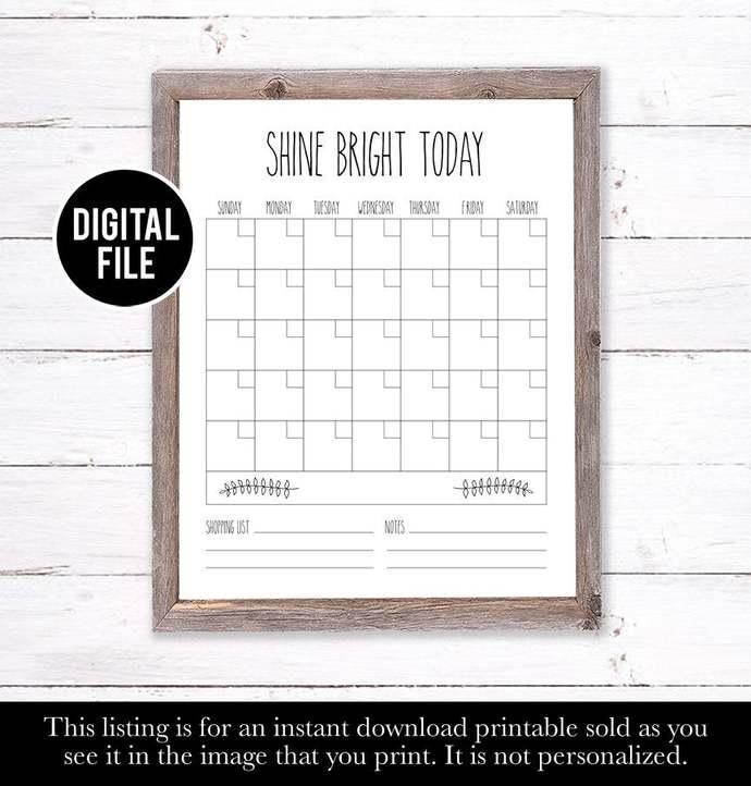 Family Wall Calendar, Dry Erase Calendar Printable, Farm House Decor, Farm House