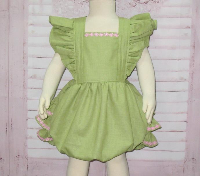 Green Romper, Baby Green Romper, Ruffle Romper, Baby Bubble Romper, Vintage