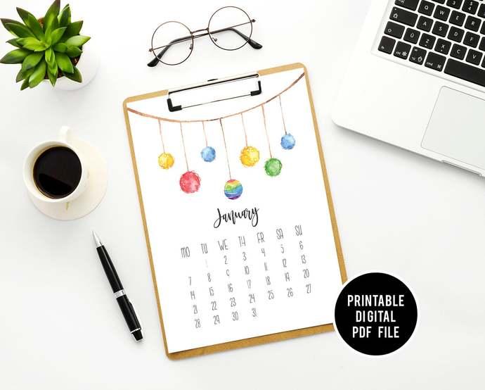 Colorful Calendar Printable Geometric, Monthly Desktop Calendar Printable,