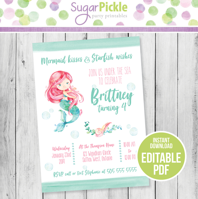 Mermaid Invitation, Mermaid Birthday Invitation, Mermaid party Invitation,