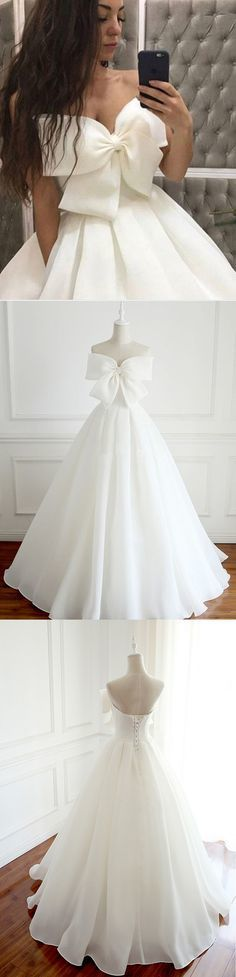 A-Line Strapless White Long Prom/Evening Dress