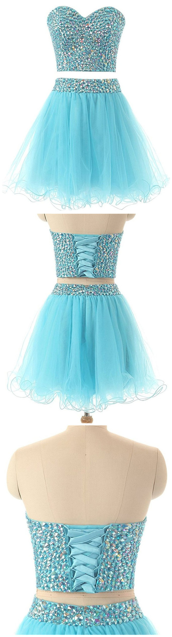 Sweetheart Tulle Sky Blue Two Piece Prom Dress, Crystal Short Homecoming Dress