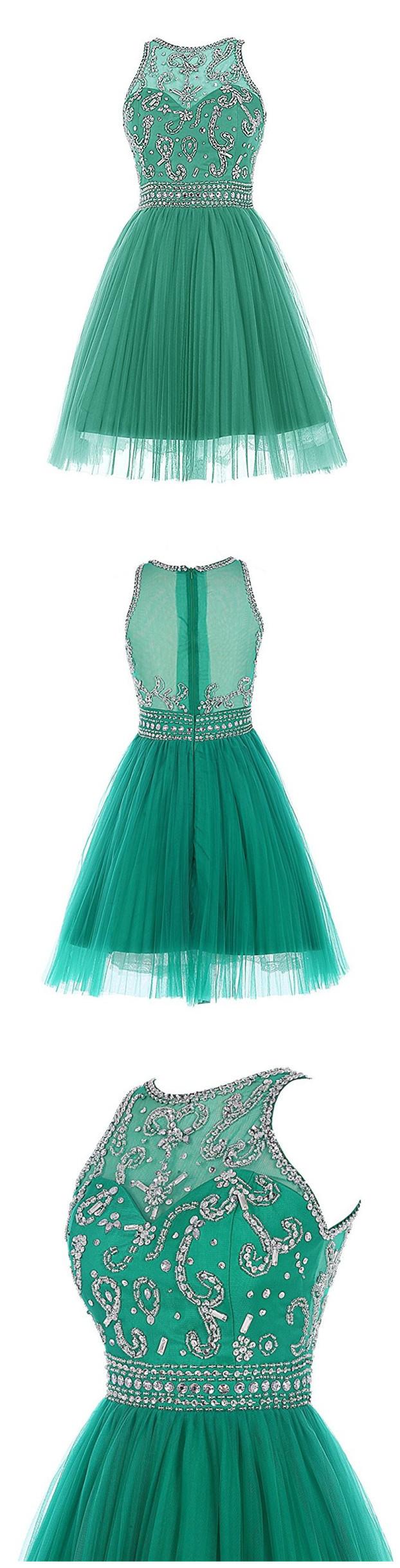 Elegant Green Tulle Beaded Short Prom Dress Homecoming Dress