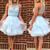 Sky Blue Short Party Dress, Tulle Cocktail Dress, Beaded Short Homecoming Dress
