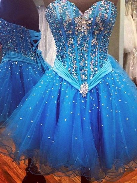 Sweetheart neck Tulle Royal Blue Crystal Short Homecoming Dress