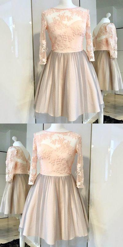 Long Sleeve Appliques Tulle Short Homecoming Dress, Elegant Prom Dress