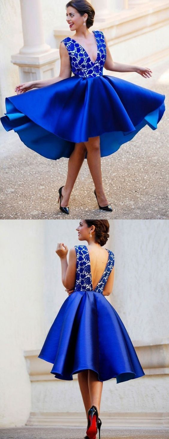 Sexy Royal Blue Deep V neck Short Homecoming Dress, High Low Prom Dress