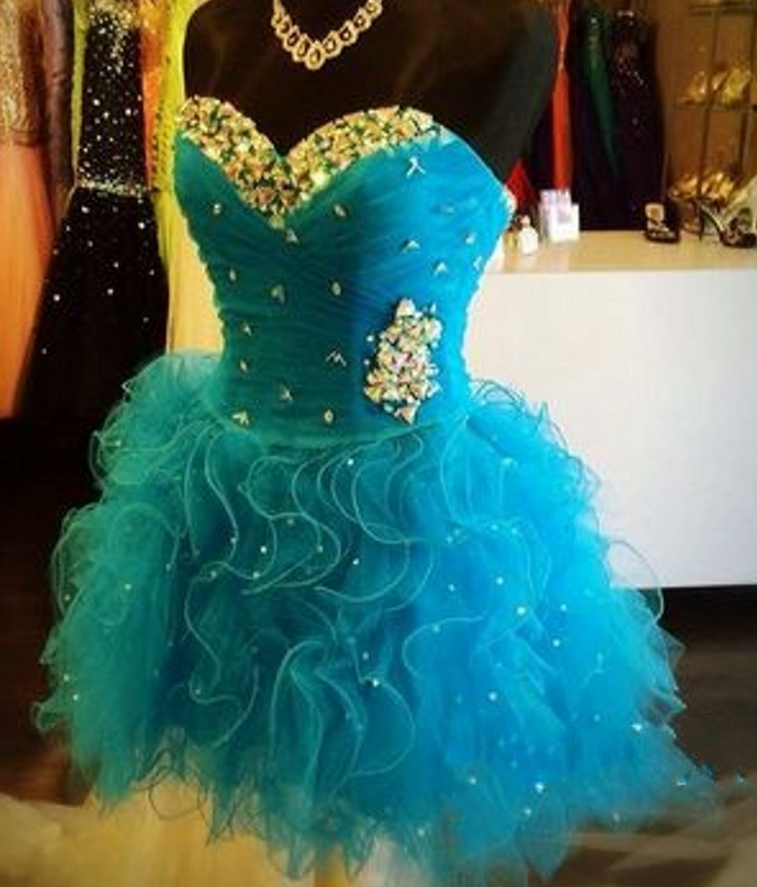 Cute Sweetheart neck Tulle Short Party Dress, Tiered Blue Cocktail Dress