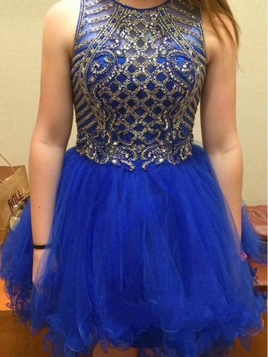 Elegant Blue Short Party Dress, Beaded Homecoming Dress, Graduation Dress