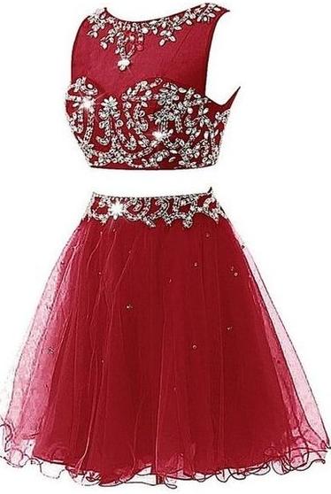 Elegant Burgundy Two Piece Homecoming Dress,  Tulle Prom Dress, Graduation