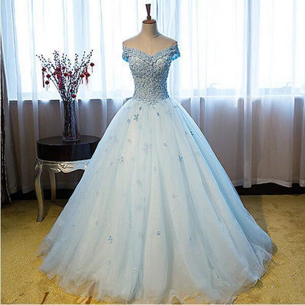 Charming Off the Shoulder Tulle Sky Blue Quinceanera Dress Formal Prom Pageant