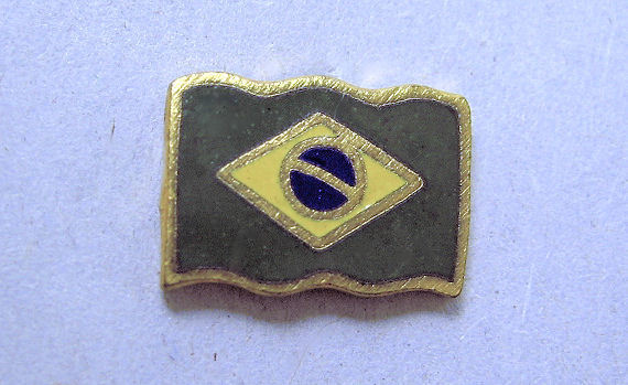 Enamel Flag Button, Brazil Realistic Button