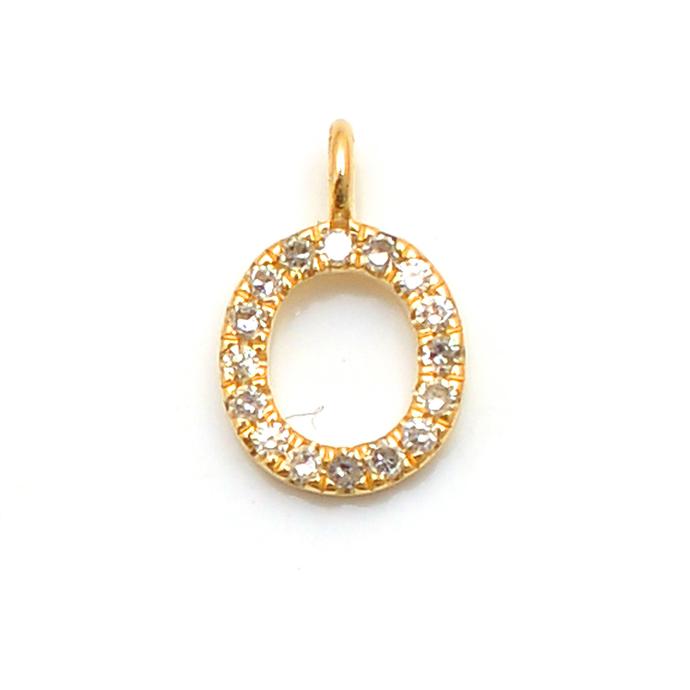 14 K Gold Diamond Alphabet O Block Letter Initial Pendant Jewelry