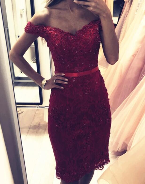 Burgundy Lace Knee Length Homecoming Dress, Off Shoulder Party Dress