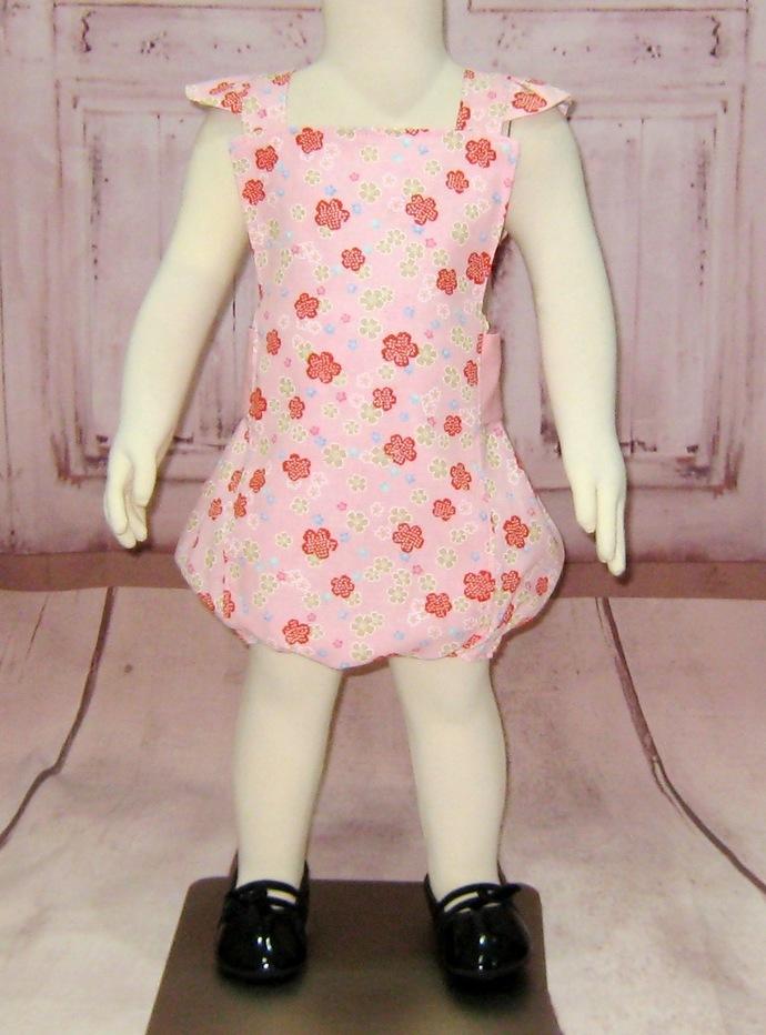 Girl Pink Romper, Baby Pink Romper, Floral Romper, Pink and Red Romper, Pink