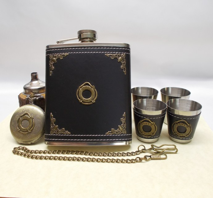 Lifesaver Flask Set and Pocket Watch with Swagger Chain Handmade Men's Gift Set