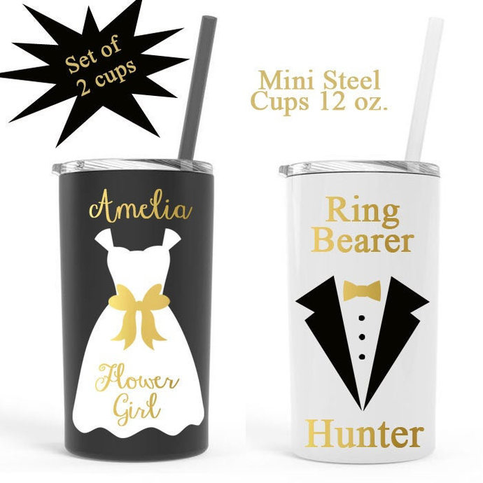 Personalized Flower girl cup, Ring Bearer cup, set of 2  flower girl steel cup