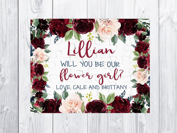 Flower Girl puzzle gift  Burgundy pink blue Flower Girl Proposal Will You Be My