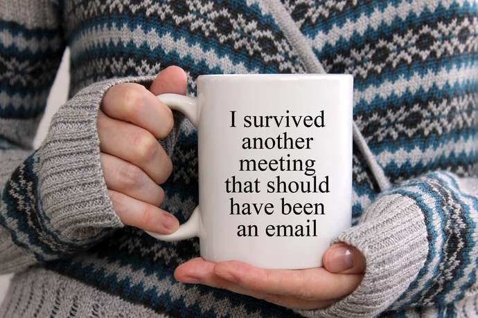 Sarcastic funny work coffee mug I survived another meeting that should have been