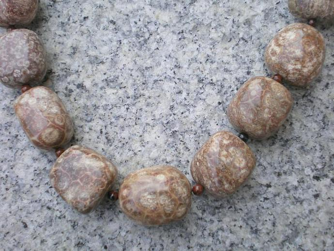 Fossil stone necklace
