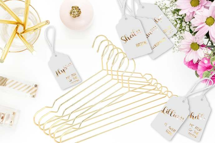 Gold Hangers Set of 6 | With personalized hang tag | Bridesmaid Hangers | Bridal