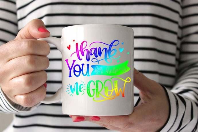 Teacher appreciation gift thank you for helping me grow coffee mug teacher gift