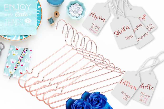 Rose Gold Hangers Set of 1   With personalized hang tag   Bride Hangers   Bridal