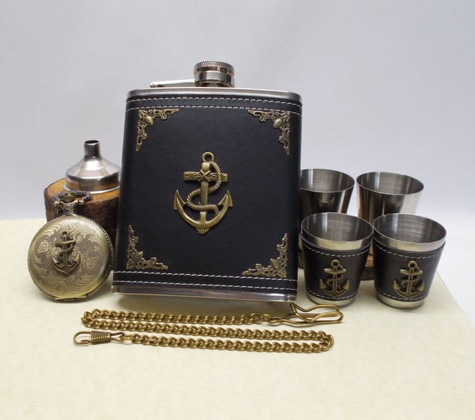 Anchor Flask Set and Pocket Watch with Swagger Chain Handmade Men's Gift Set