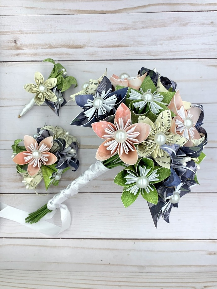 Paper flower wedding bouquet, origami, kusudama, bridal flowers, artificial