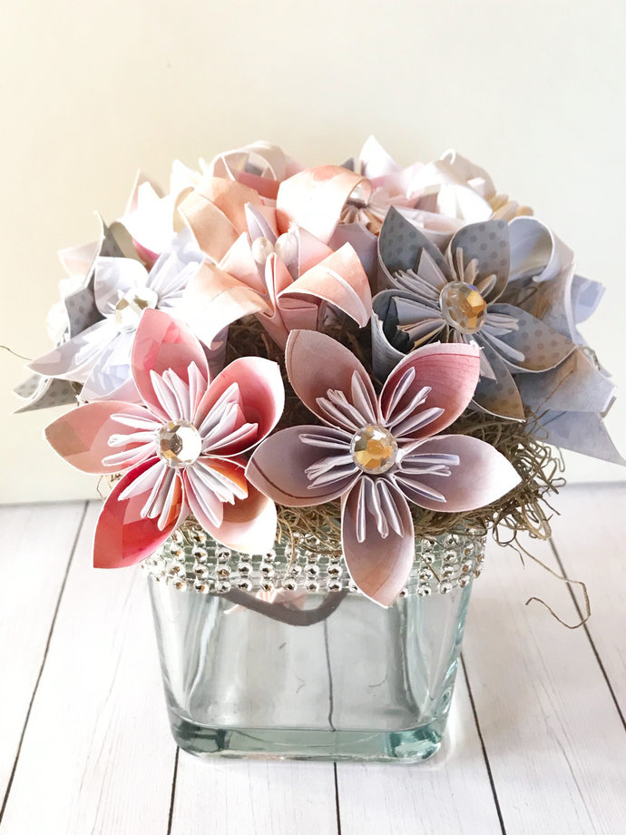 Centerpiece, Wedding Small origami paper floral, kusudama, artificial, paper
