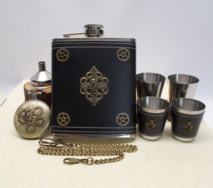 Sea Captain Flask Set and Pocket Watch with Swagger Chain Handmade Men's Gift