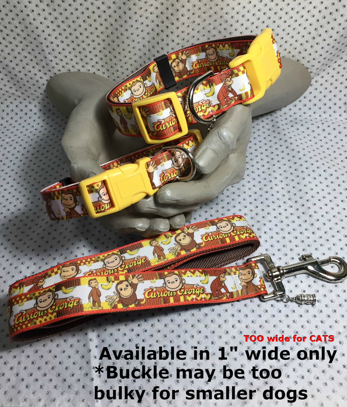 "Curious George, TV, book, Monkey, 1"" wide adjustable Dog collar, Bananas Charm,"