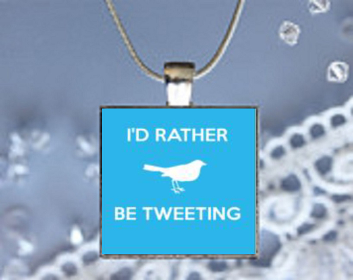 Pendant Necklace I'd Rather Be Tweeting